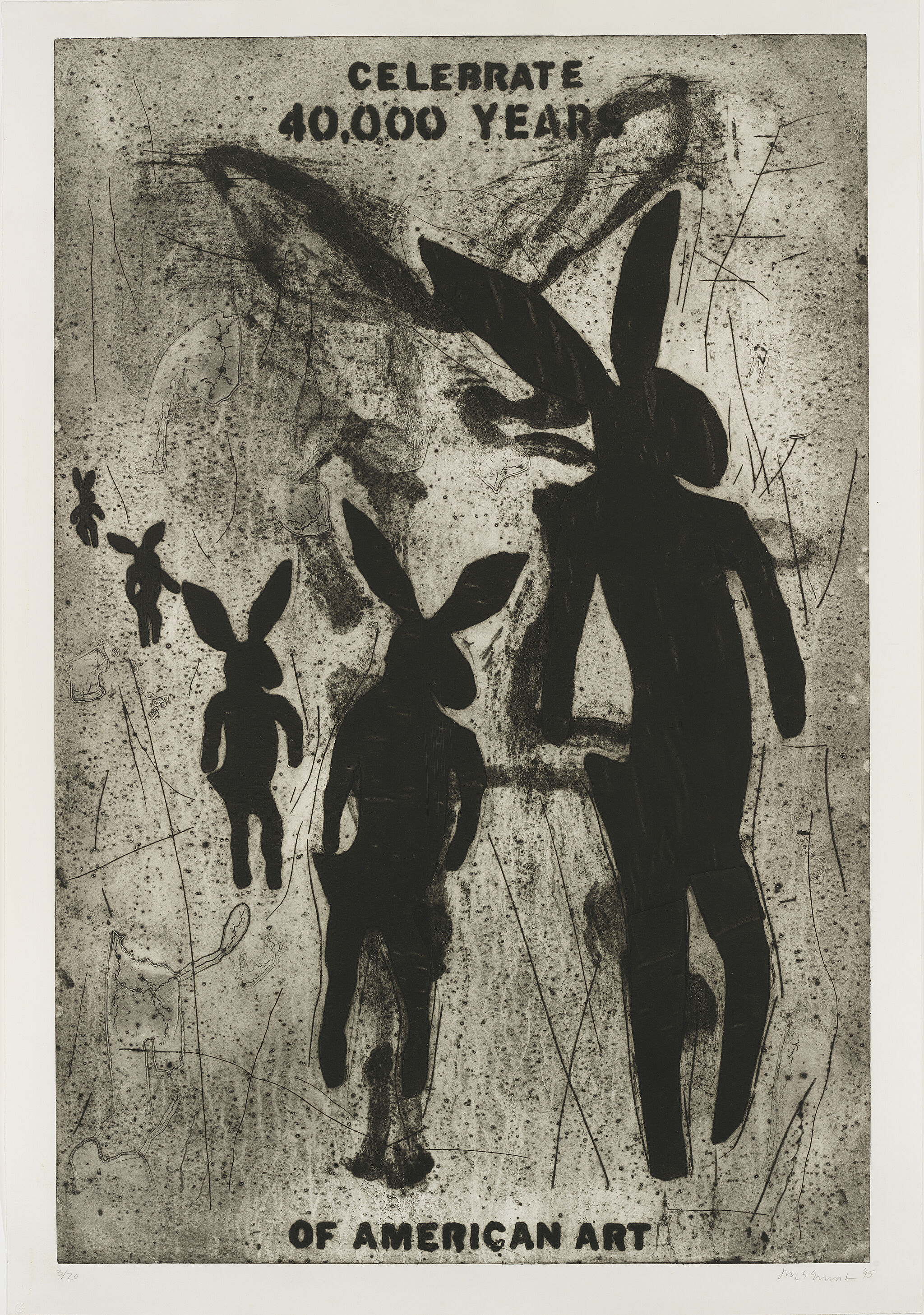 "A print that says ""Celebrate 40,000 Years of American Art"" next to figures that look like rabbits from a cave painting."
