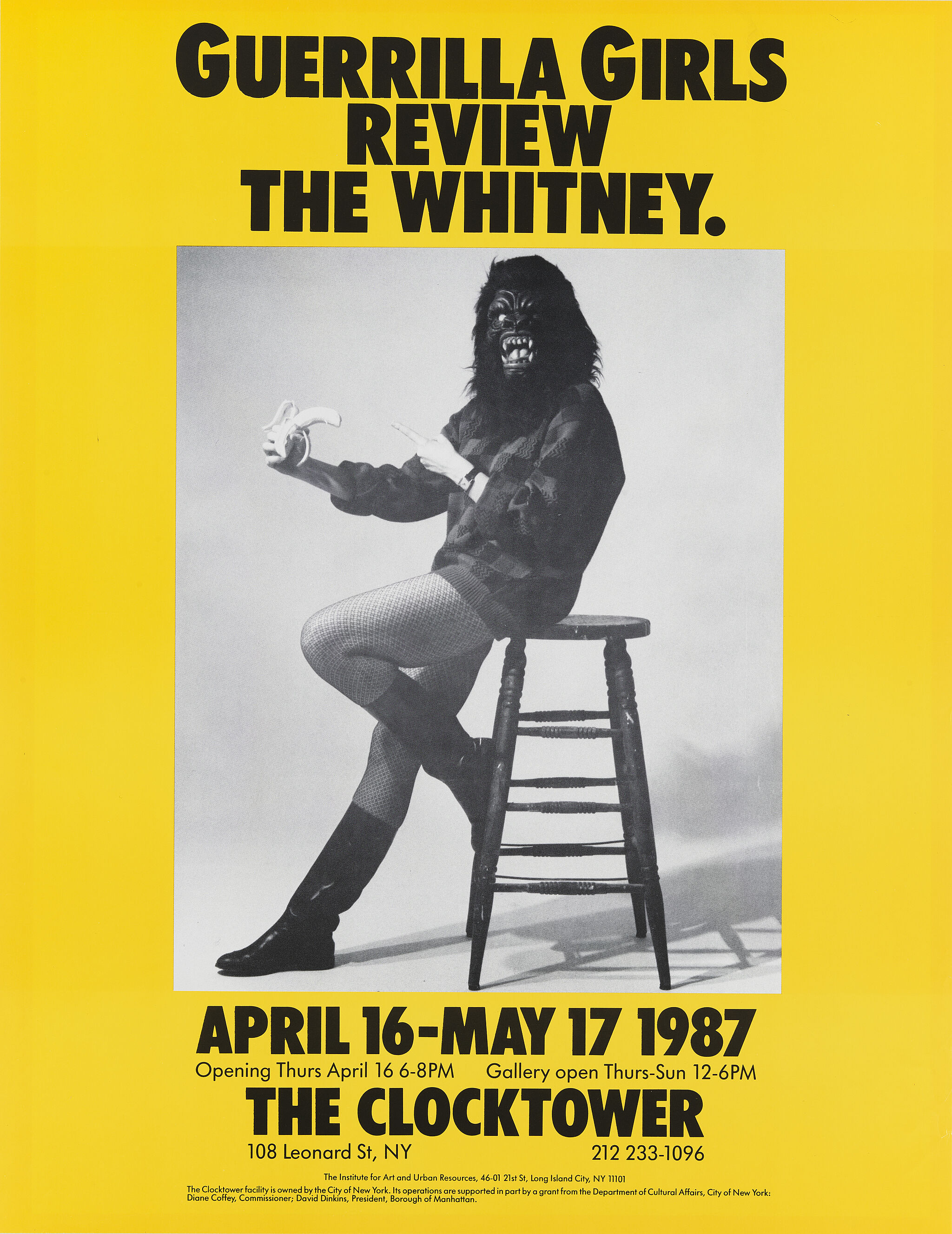 A yellow poster of a person in a gorilla suit siting on a stool.