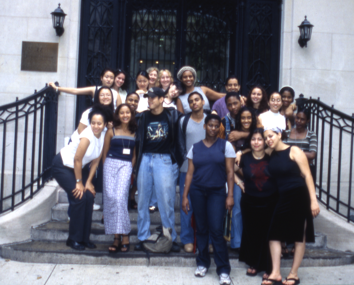 Group photo of Youth Insight Participants at the Whitney Museum in 1998-1999.