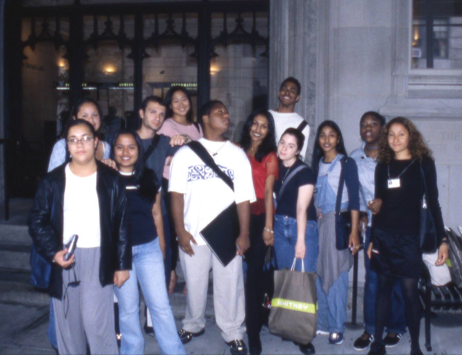 Group photo of Youth Insight Participants at the Whitney Museum in 1999-2000.