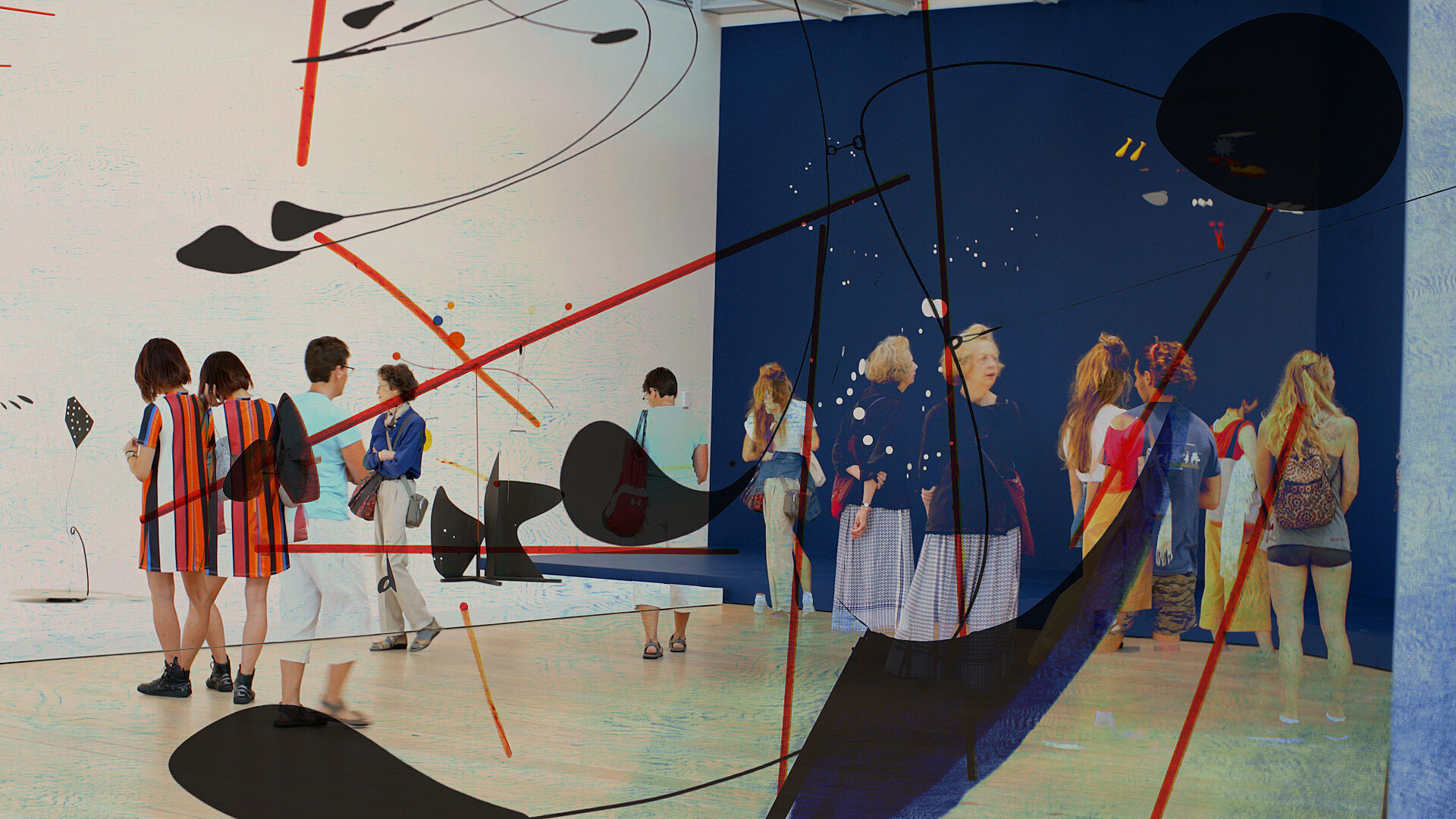 Film still showing people in a gallery with Calder sculptures superimposed.