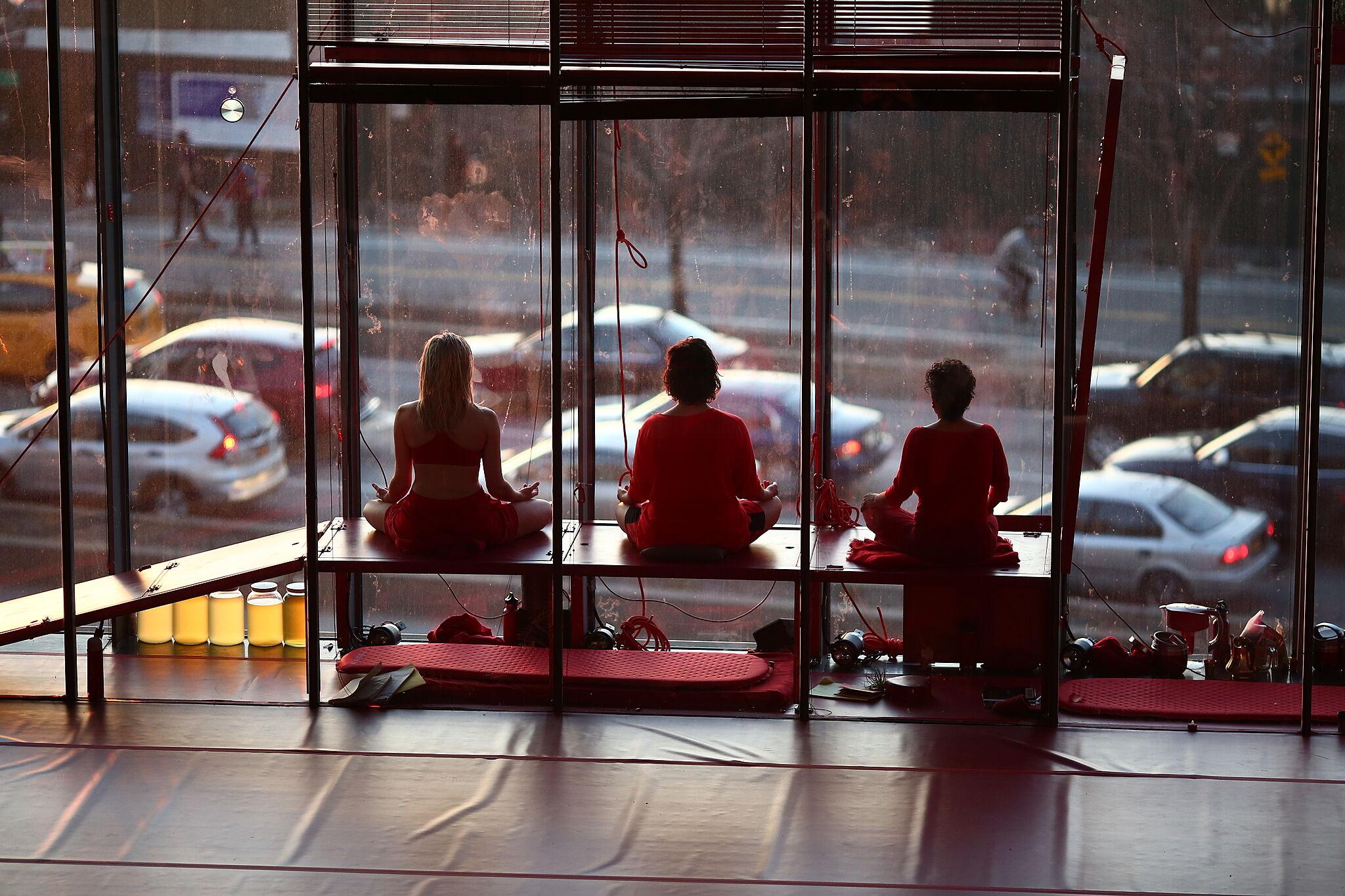MPA, Elizabeth and Amapola meditating