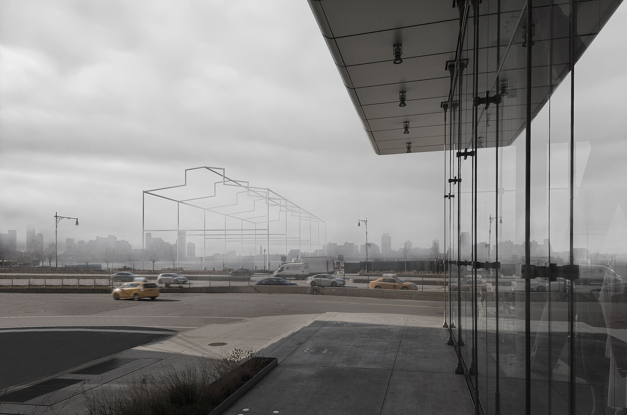 Rendering of a sculpture by David Hammons, resembling the frame of a shed rising from the Hudson River, viewed in fog