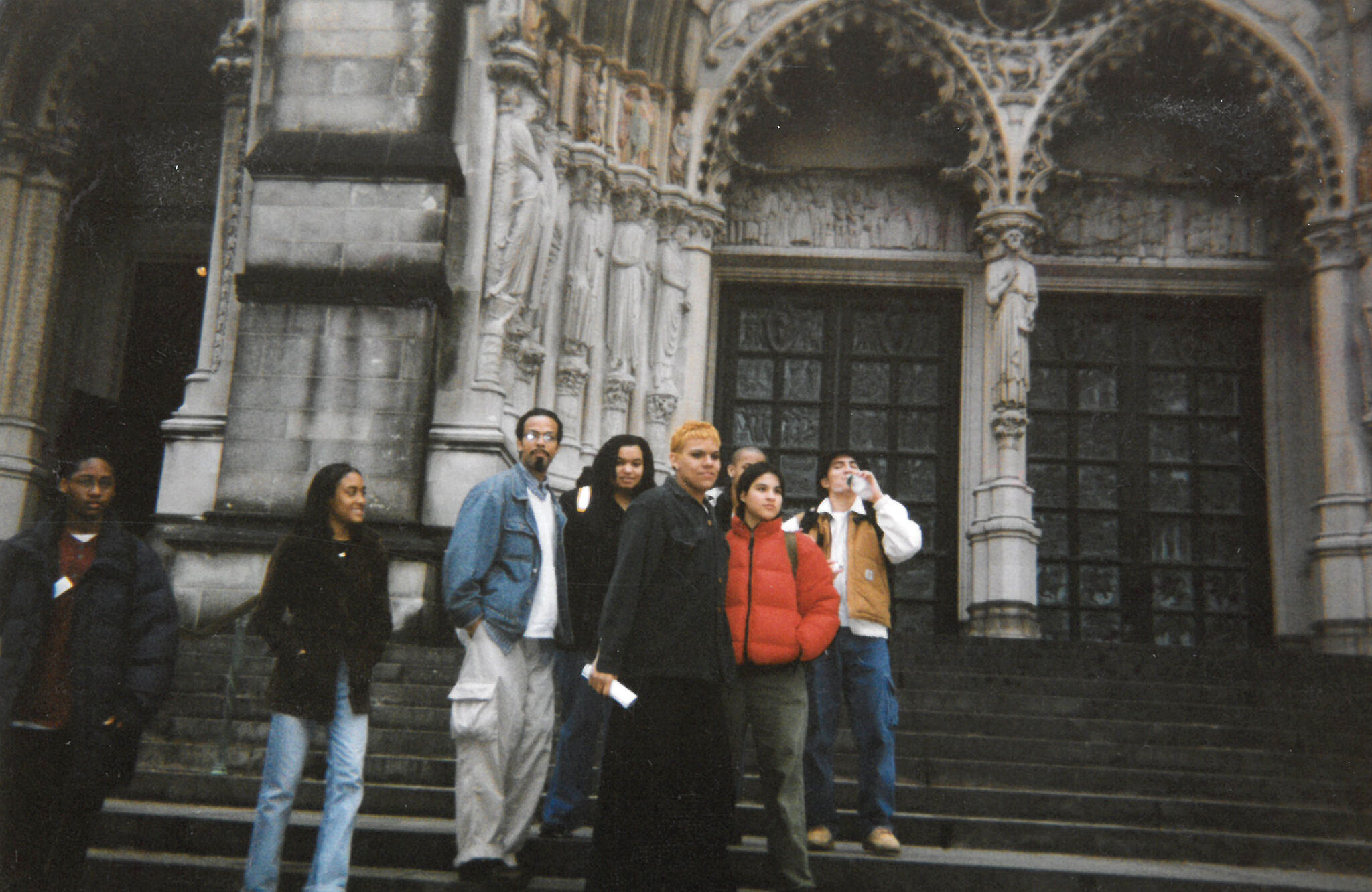 Group photo of Youth Insight Participants at the Whitney Museum in 1997-1998.