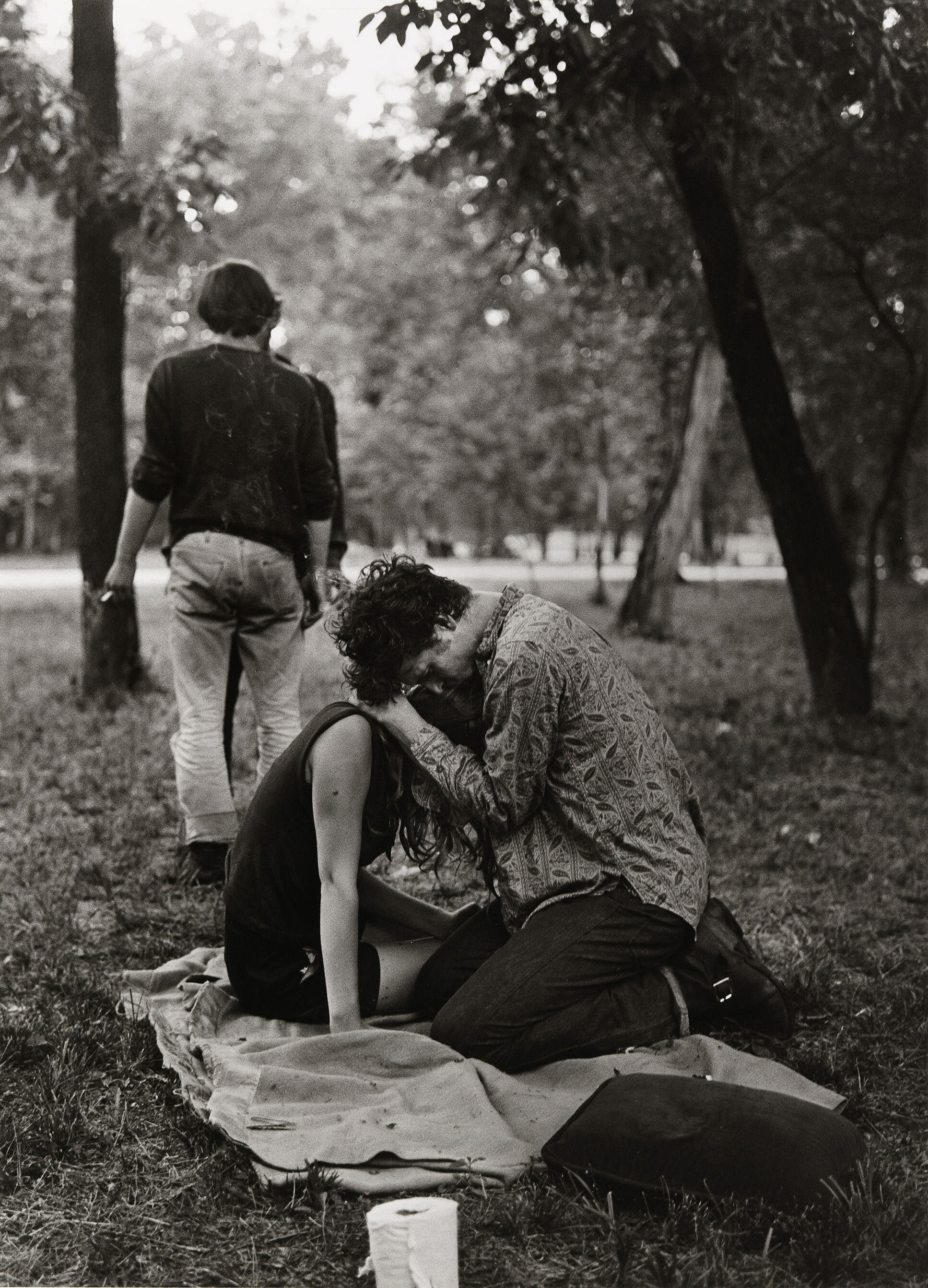 Photograph of Beatniks in a park.