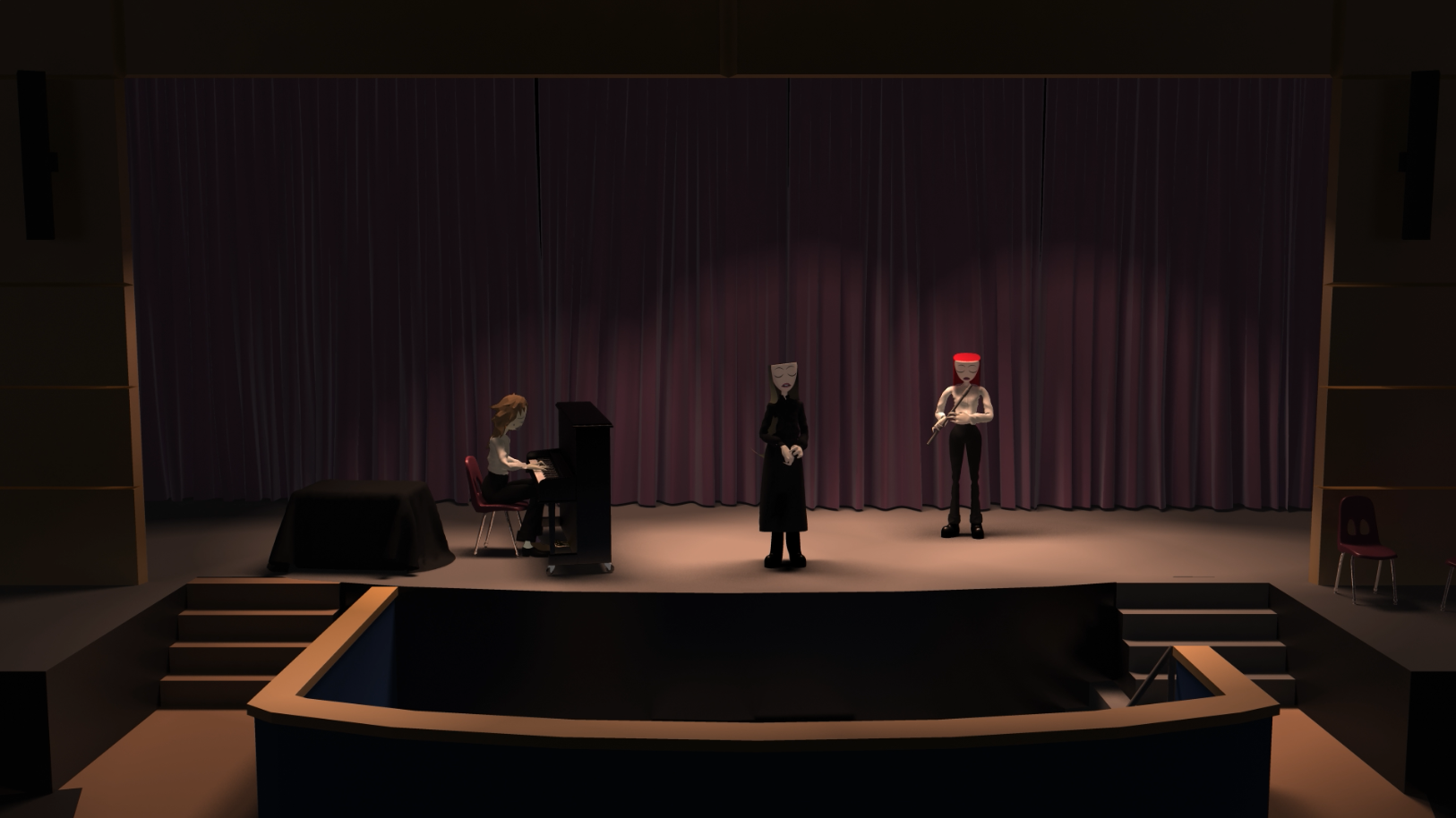 Three animated characters sing on a stage.