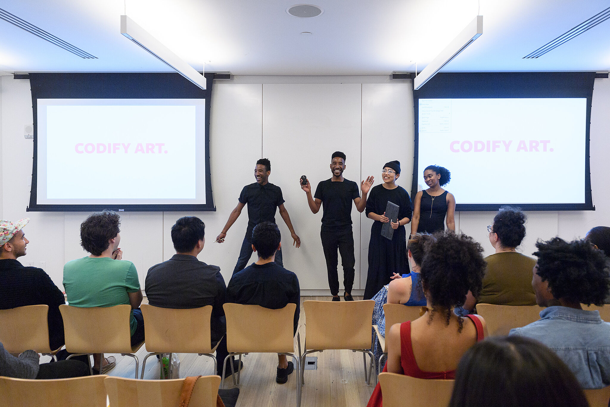 Codify Art Study Session presenters in front of an audience