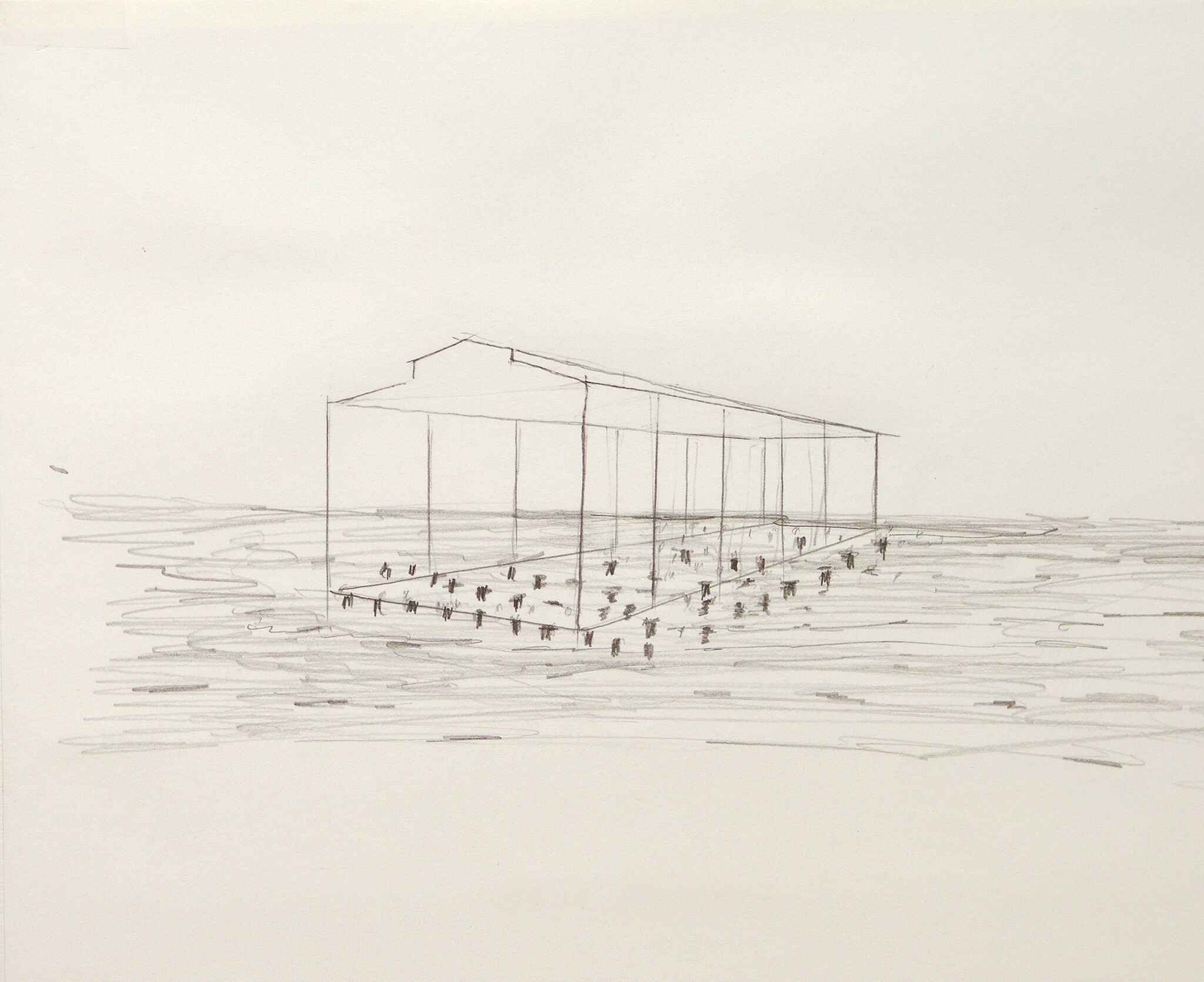 A sketch for a sculpture that resembles the outline of a pier shed