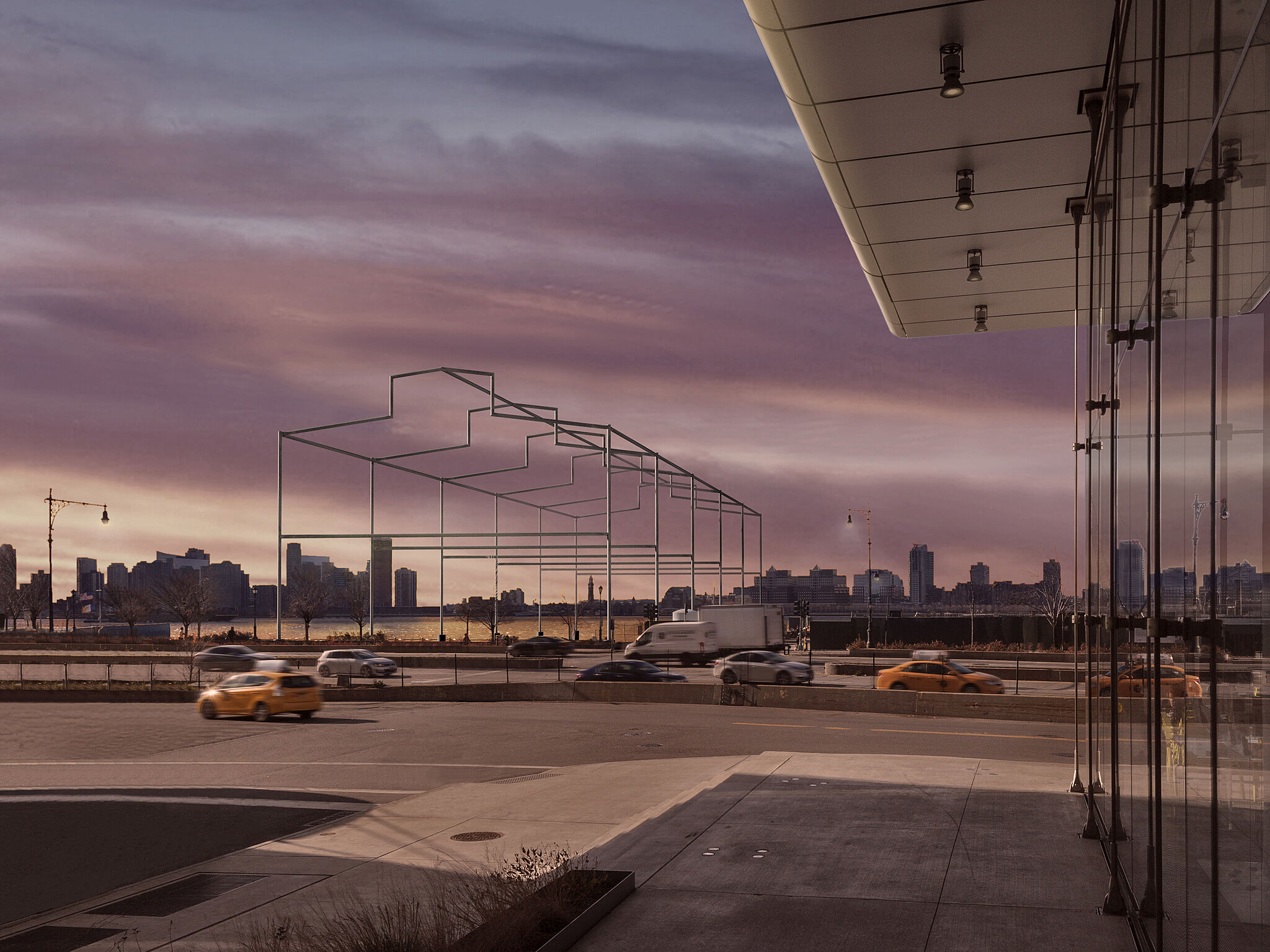 Rendering of a sculpture by David Hammons, resembling the frame of a shed rising from the Hudson River, viewed at sunset