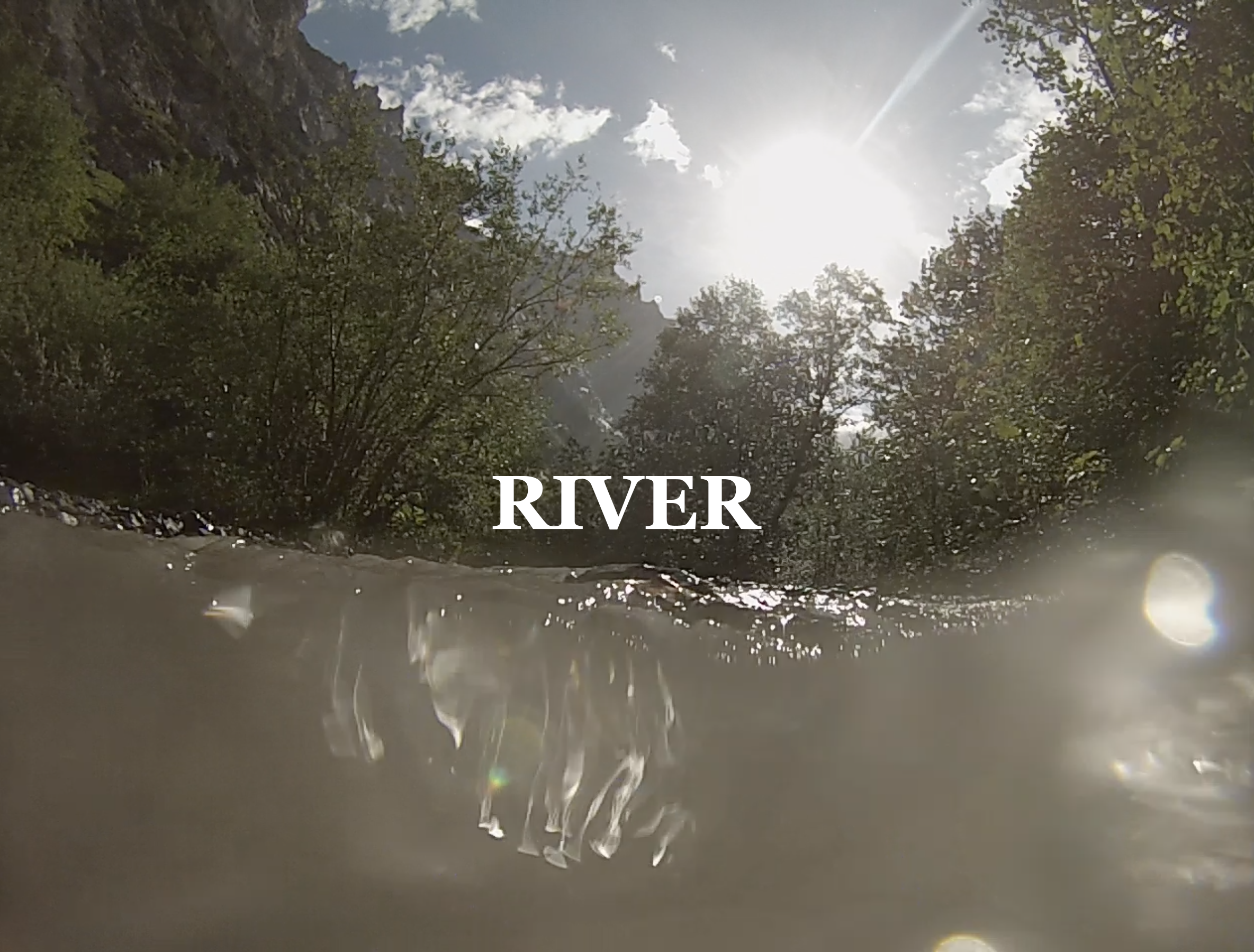 "River with the word ""river"" superimposed."