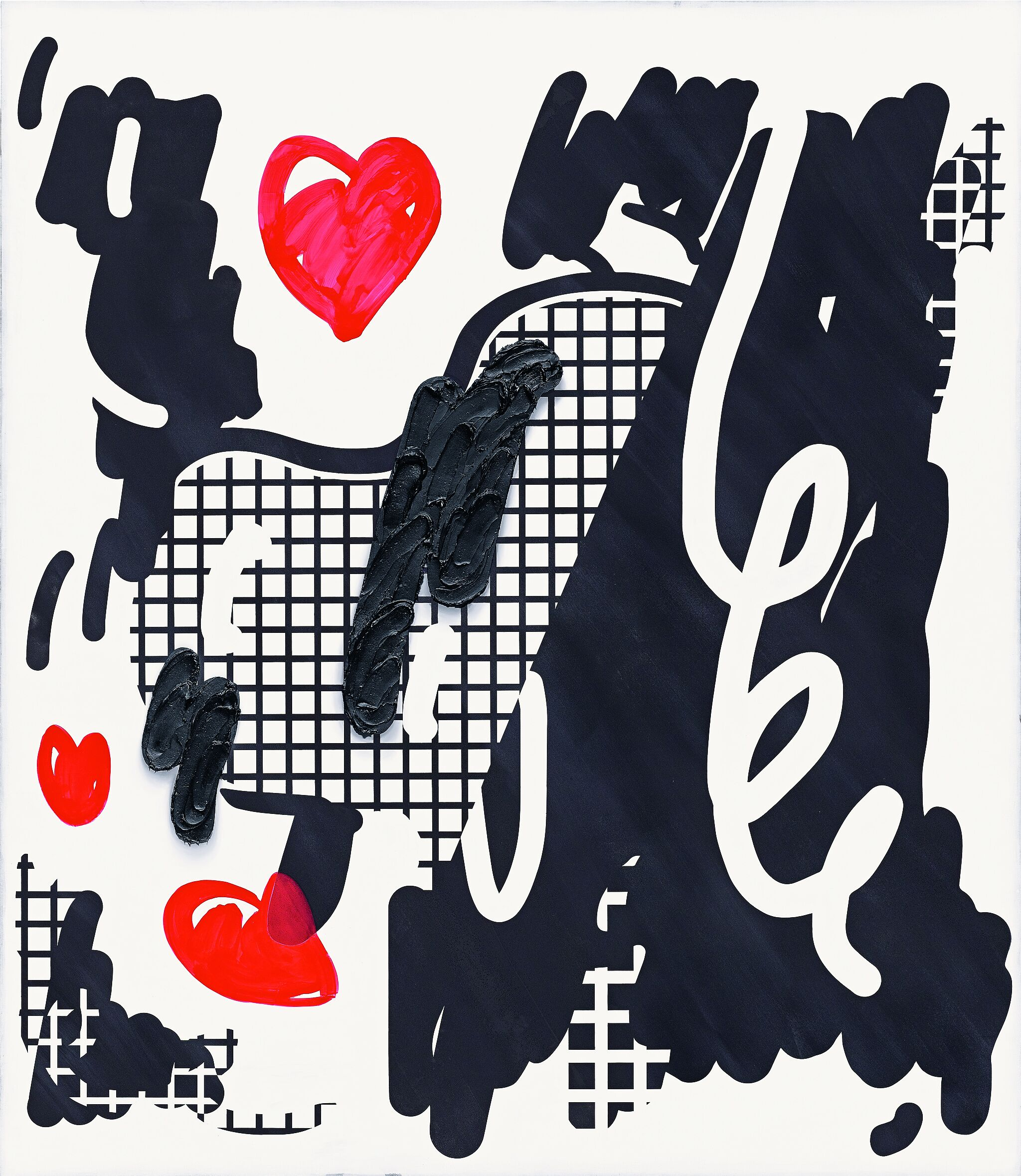 Painting of red hearts with black and white squiggles.