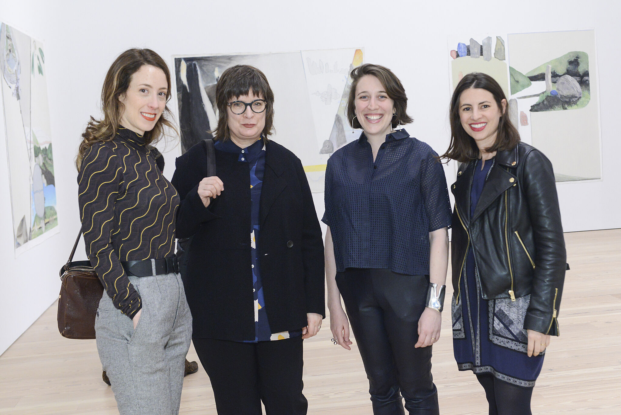 Assistant curator and Contemporaries liaison Laura Phipps and assistant curator Elisabeth Sherman with 2017 Biennial artists Aliza Nisenbaum and Carrie Moyer.