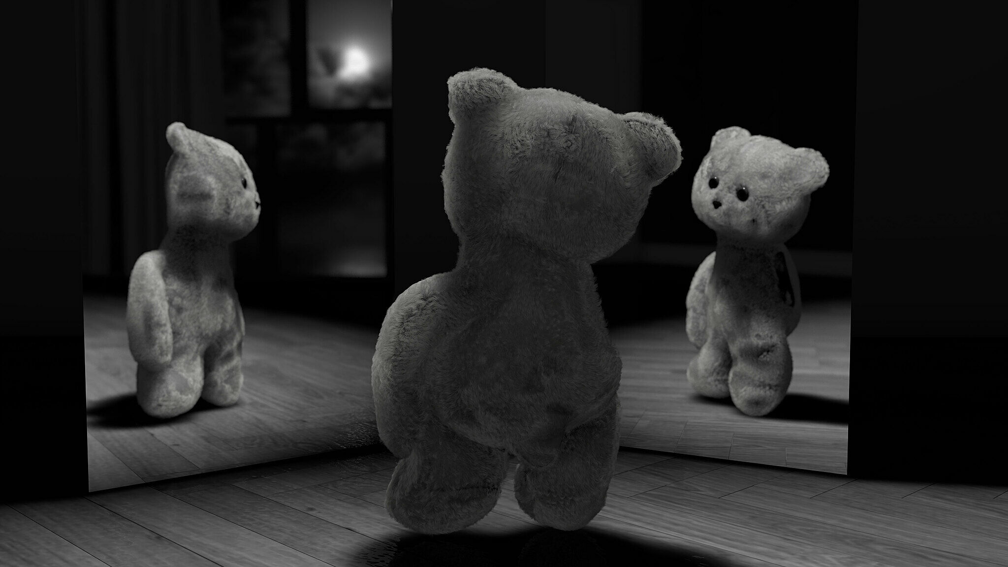 A stuffed bear looking at itself in two mirrors.
