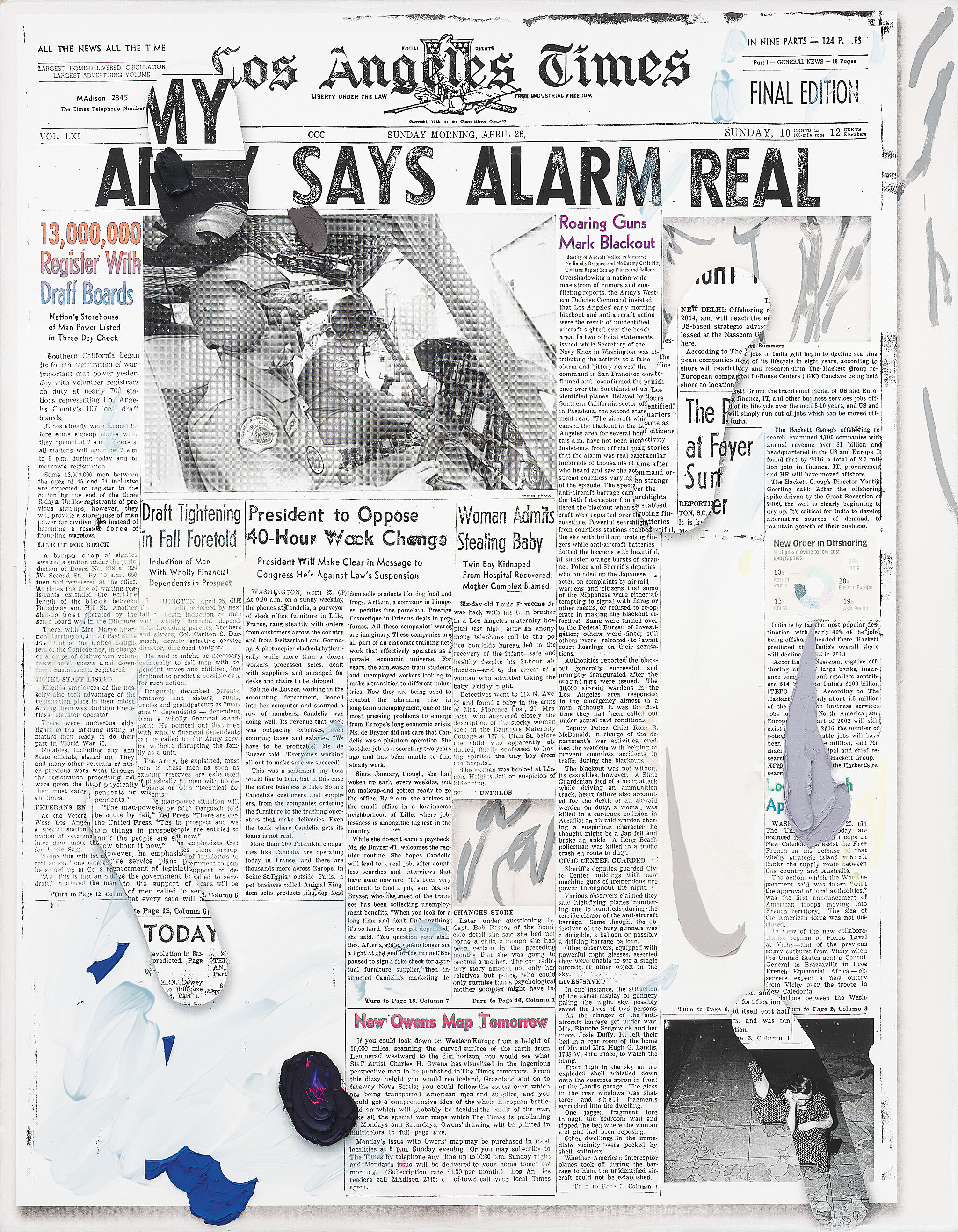 A newspaper collage.