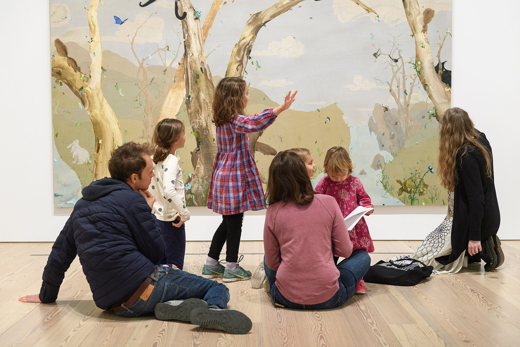 Families exploring the galleries together