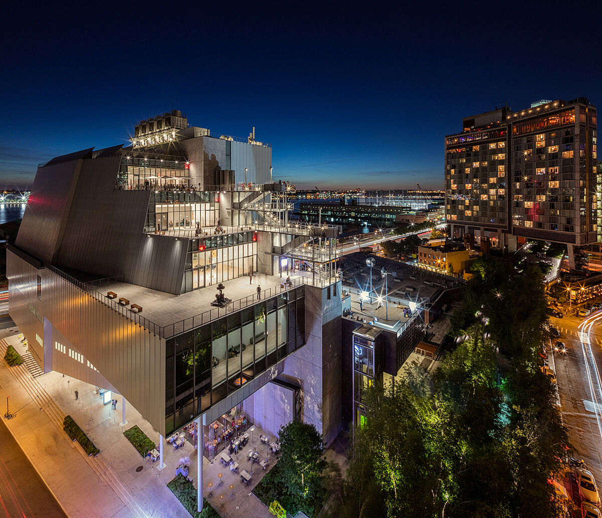 Whitney Museum at night.