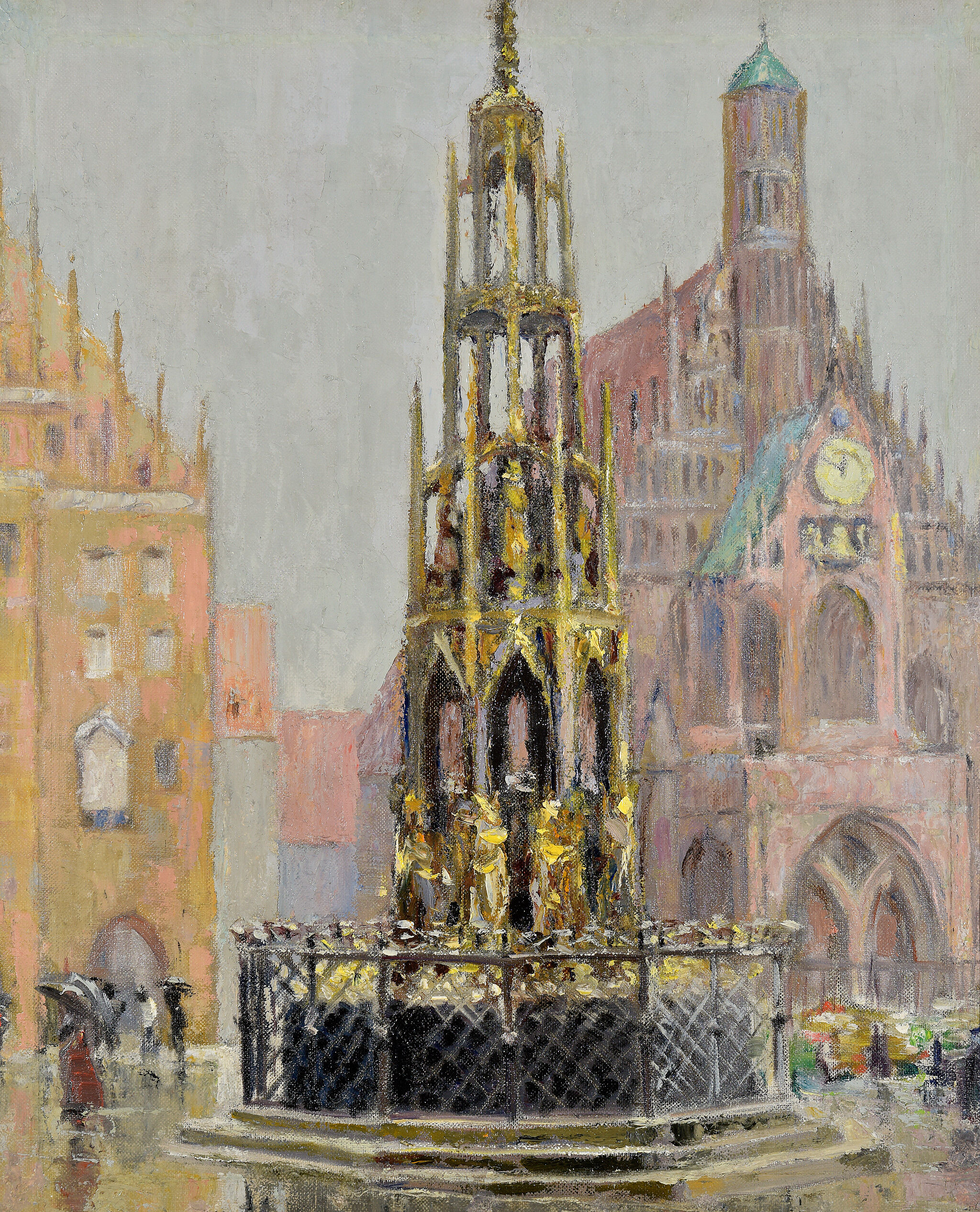 Oil painting of market place town square in Nuremberg, 1928.