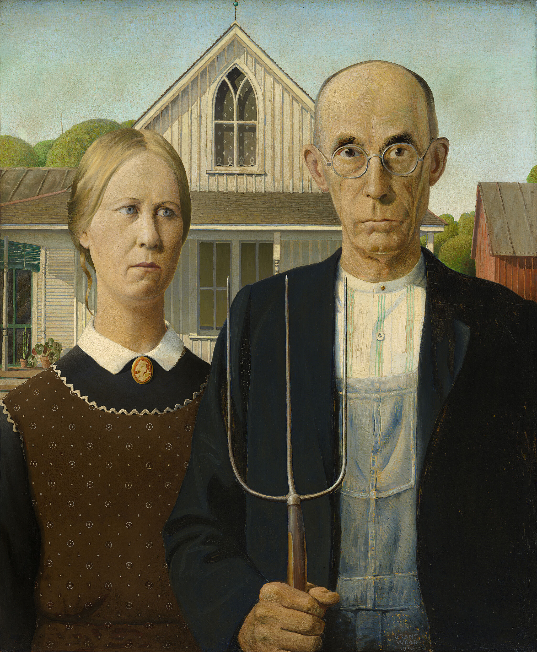 Painting of man holding a pitch fork and a woman in front of a house.