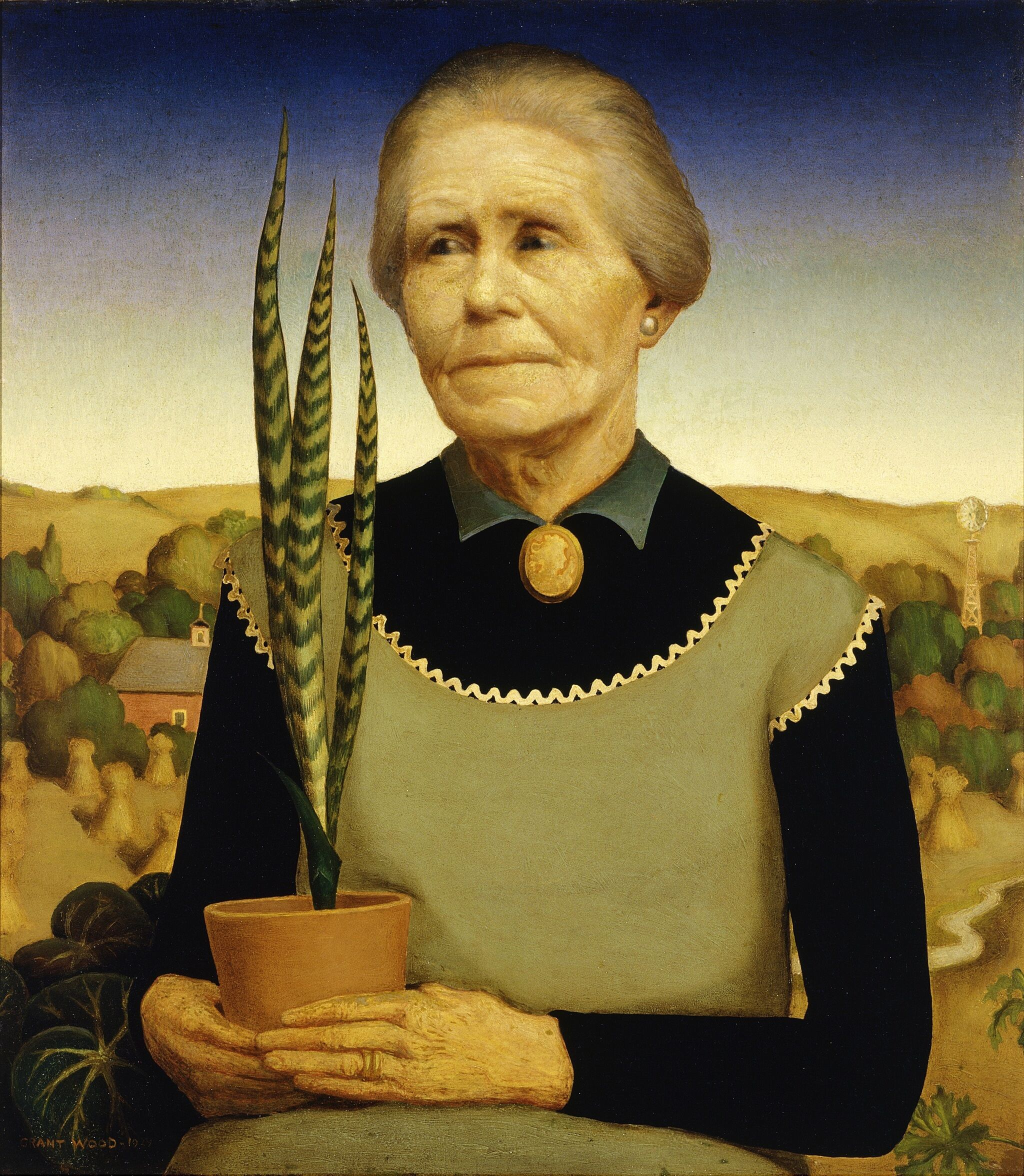 Painting of woman holding potted plant.