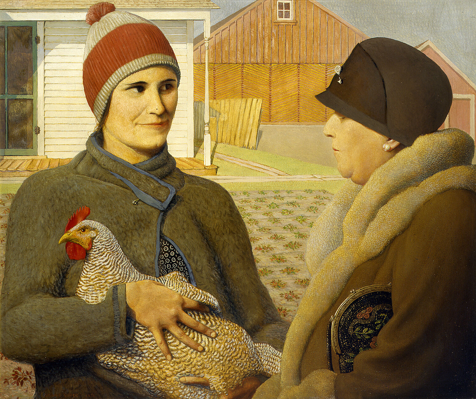 Painting of woman holding a rooster, speaking with another woman holding a purse.