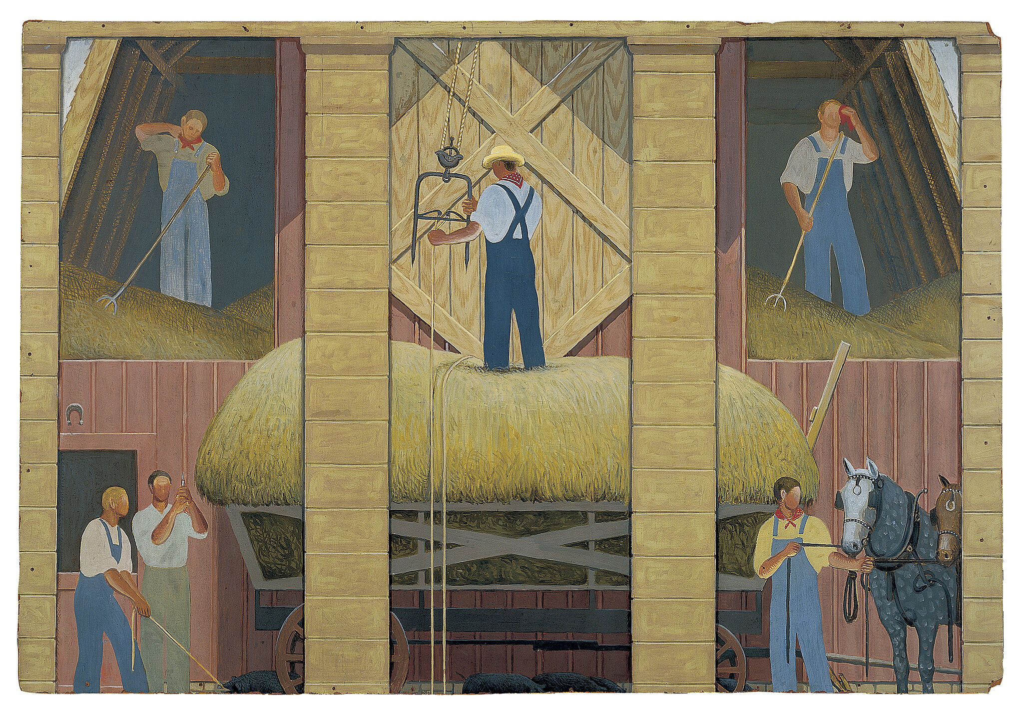 Three panel painting of men in various agricultural scenes.