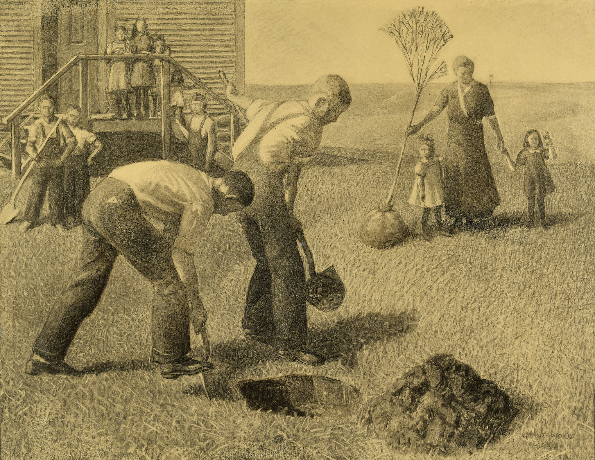 Sketch of two men digging in earth to plant trees, a woman and several children observe.