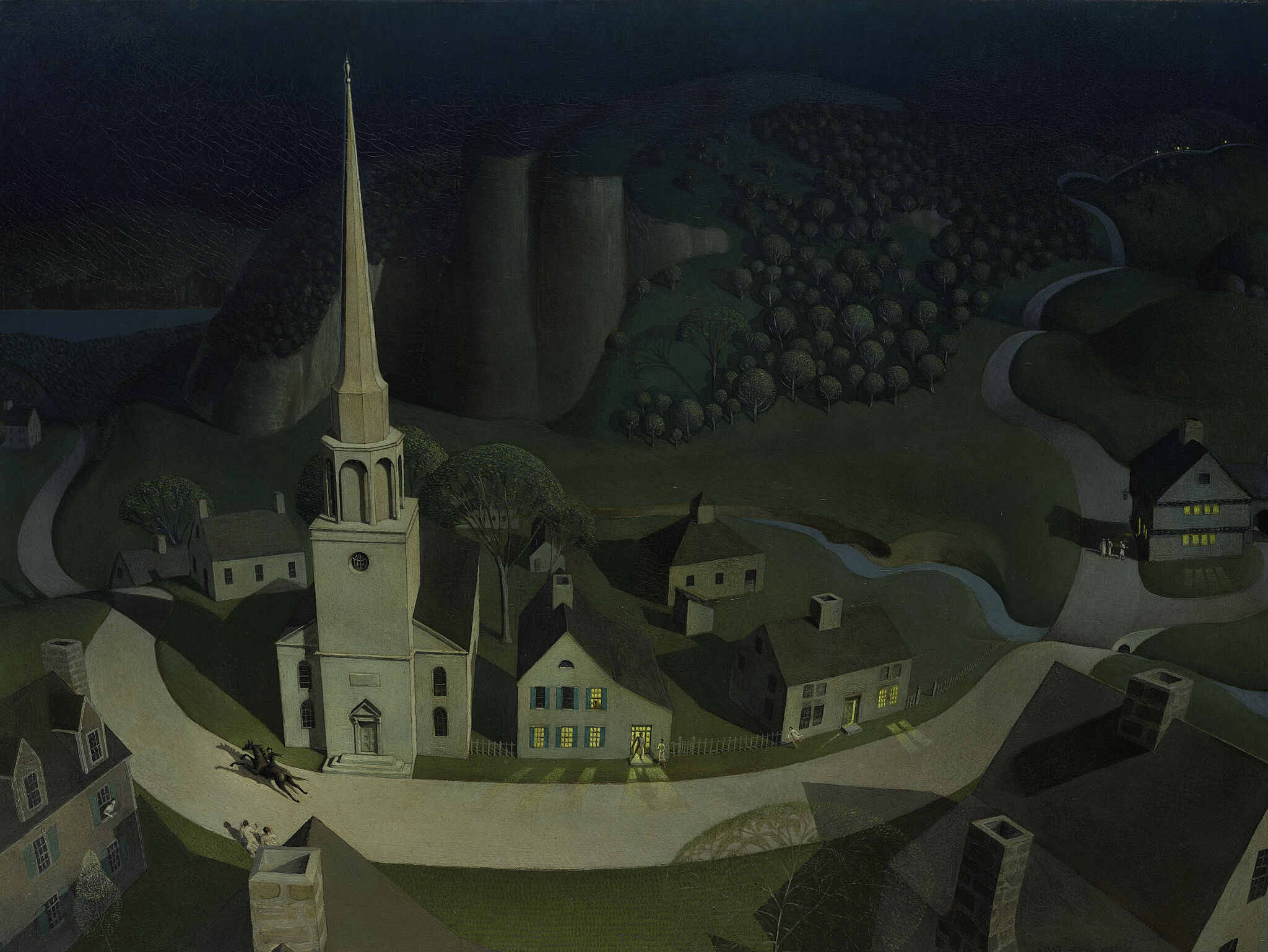 Painting of Boston with Paul Revere riding on horseback through streets.