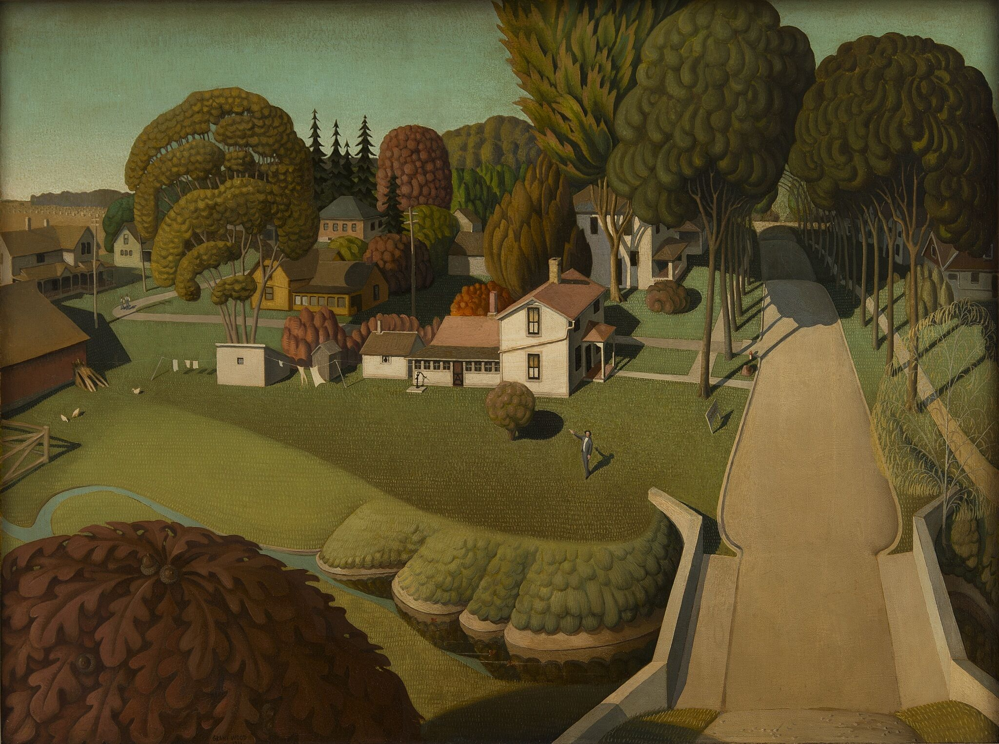 Aerial view painting of rural area with houses, a road lined with trees and a man walking below.
