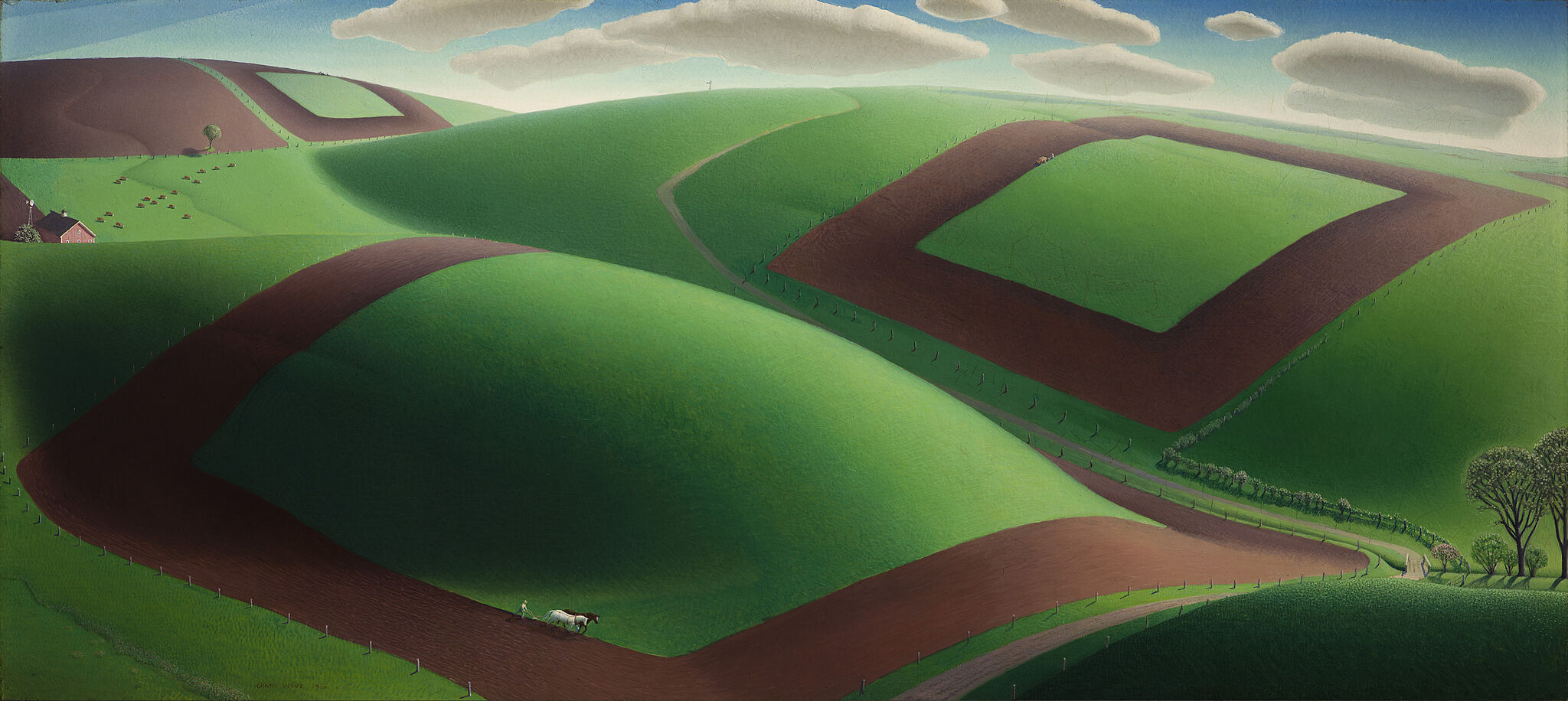 Aerial landscape painting of green fields with dirt tractor paths.