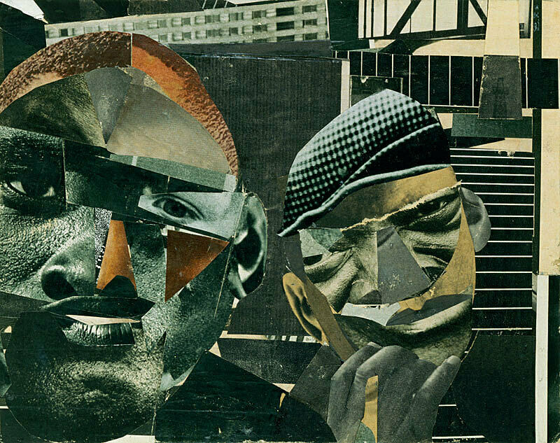 Collage depicting faces of two men.