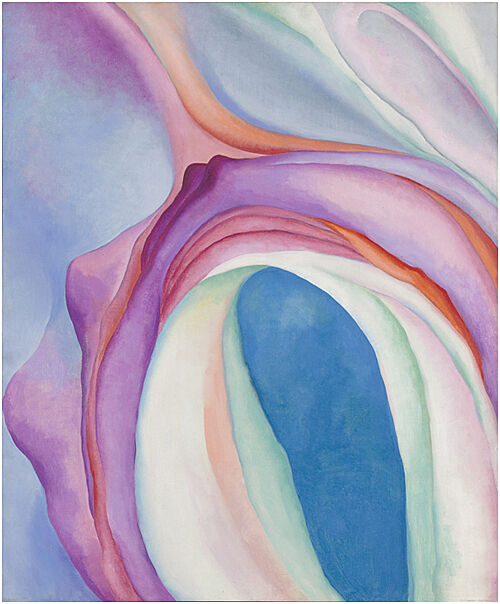 Pastel pink and blue abstract oil painting of flower.