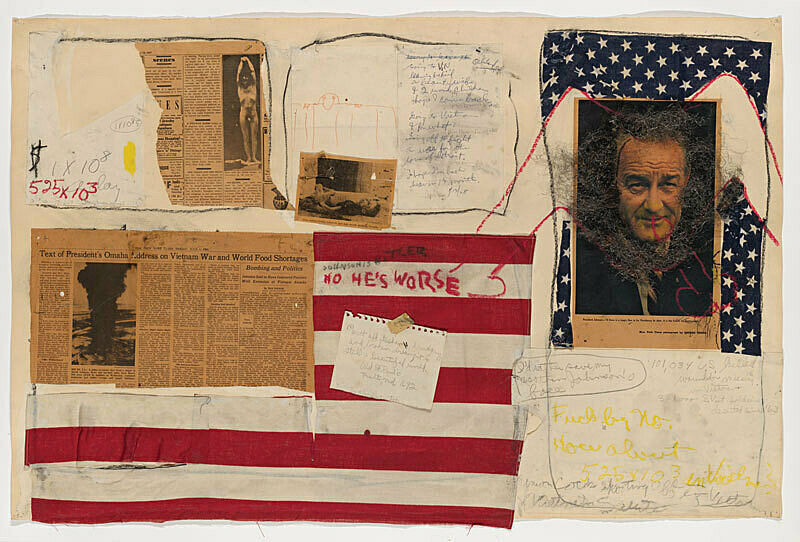 Collage with found materials, newspaper, a flag, a photograph of a man marked with charcoal.