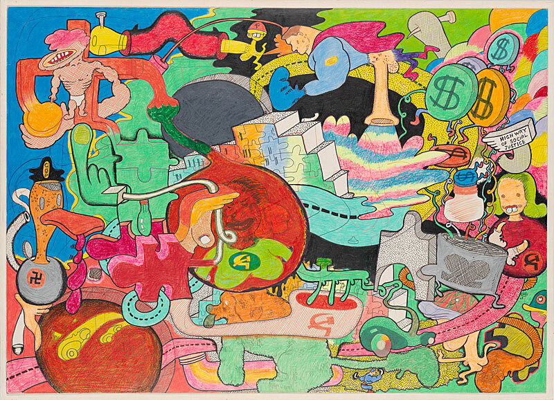 Crayon and ink multicolored cartoon drawings that depict abstract scenes of historical justice and injustice.