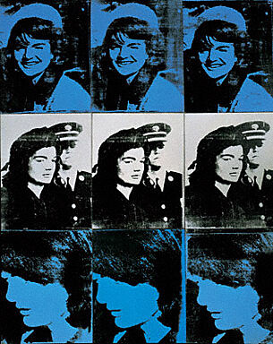 Any Warhol blue silkscreen print with repeating image of woman.