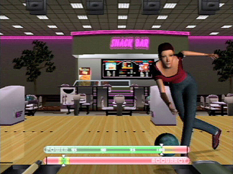Still-image of bowling video game. Woman in purple shirt releases ball down lane; a snack bar is in the background.