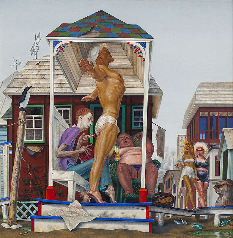 Surrealist oil painting depicting a porch scene with men and women dressed in undergarments in front of a dilapidated house.