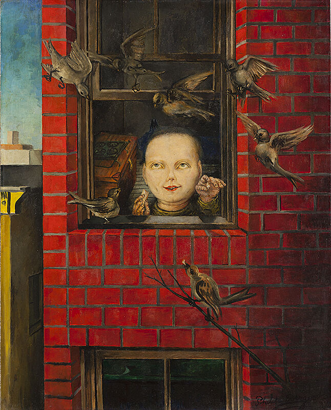 Surrealist oil painting of a young child peering at a flock of sparrows through the window of a vibrant red-brick home.