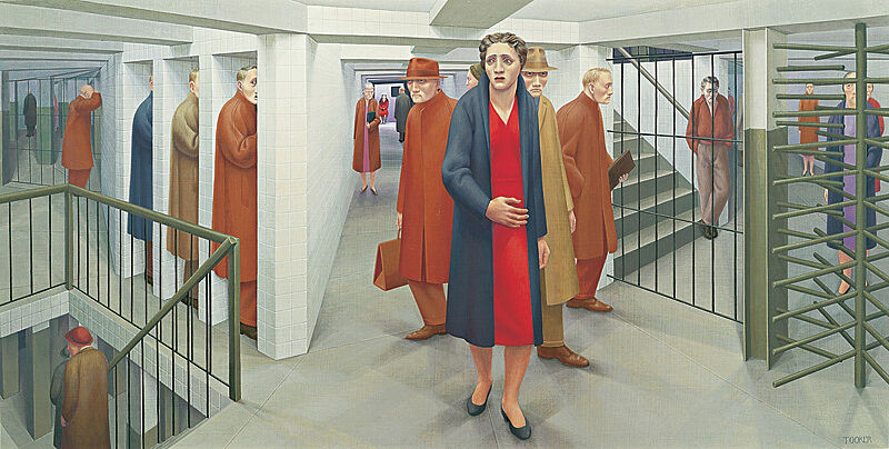 Painting of a subway station filled with people. At the center of the image stands a woman in a red dress with a fearful expression.