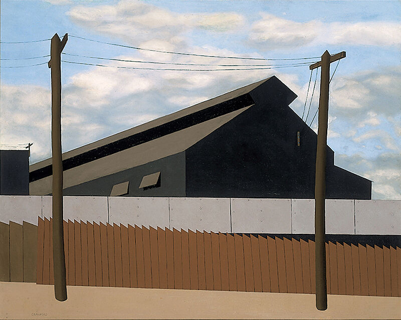Bold geometric oil painting of a steel foundry behind two fences and telephone poles.