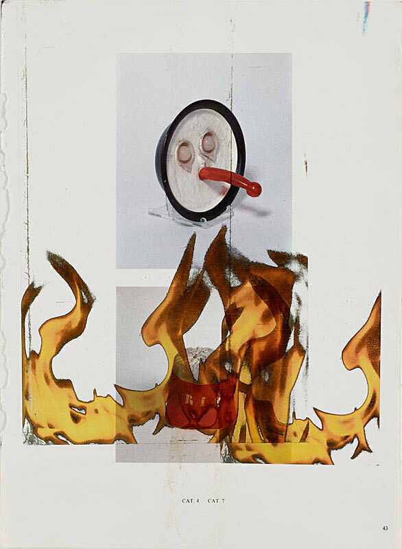 Multimedia image depicting flames and an abstract face.