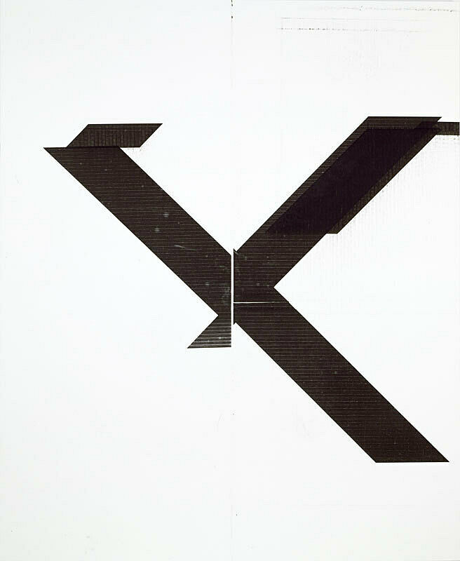 "Large white linen canvas depicting large black ""X"" with missing left lower leg."