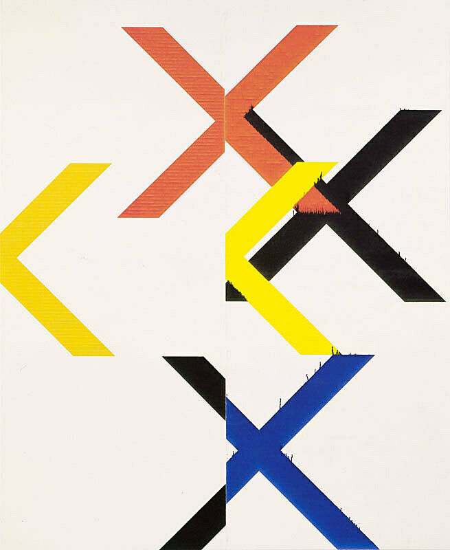 "Large two paneled white linen piece with several orange, black, blue and yellow ""X"" and fractured ""X"" shapes."