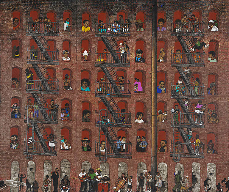 Painting of a large brick apartment building with various people and scenes depicted in each window and on the street below.
