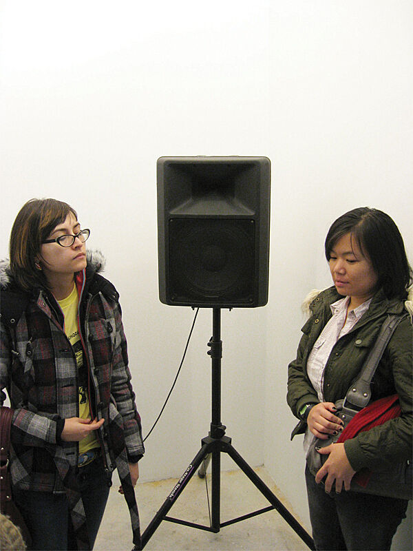 Two women near a speaker.