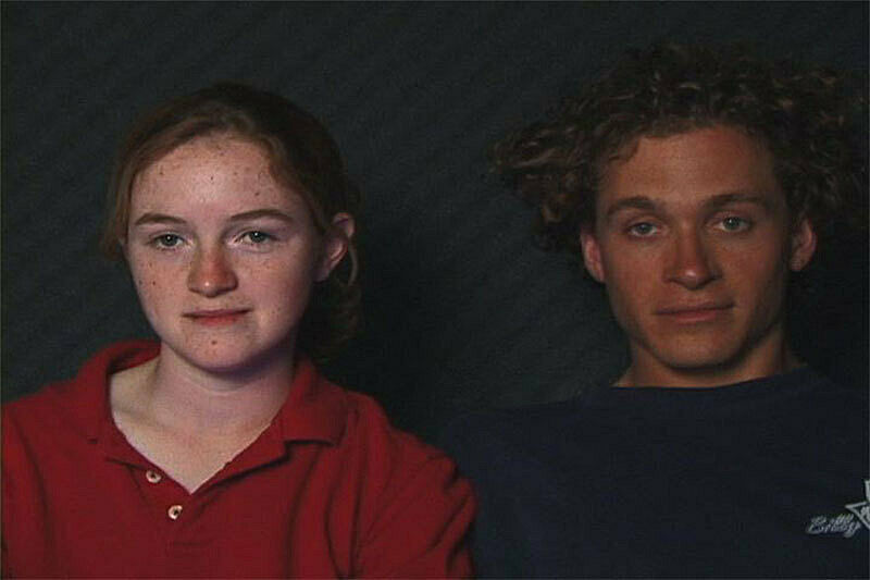 Film still of two people.