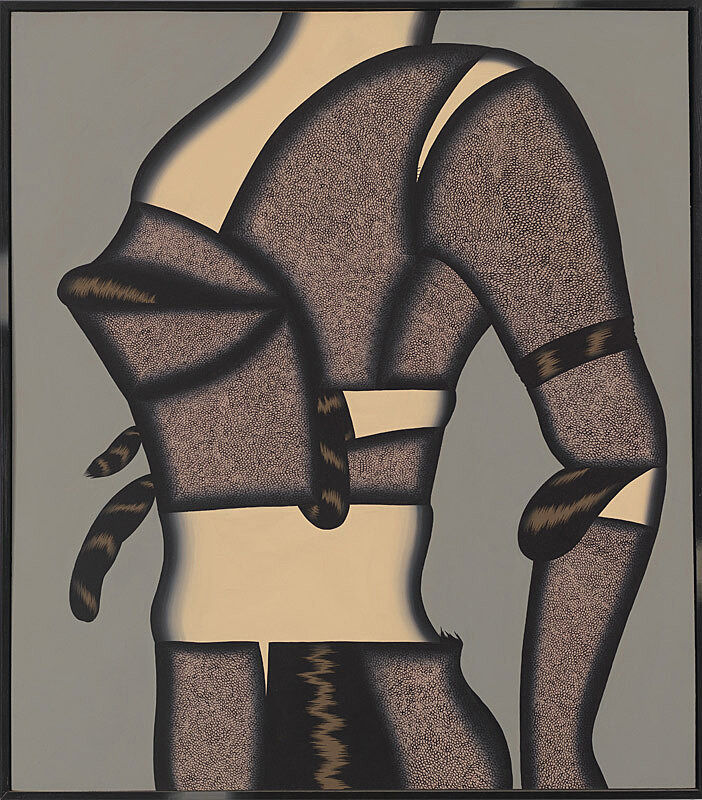 Body against a grey background.