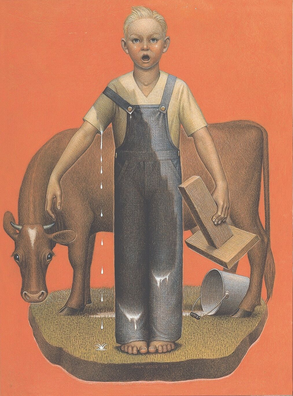 Boy standing in front of a cow with a spilt milking bucket behind him and milk on his clothing.