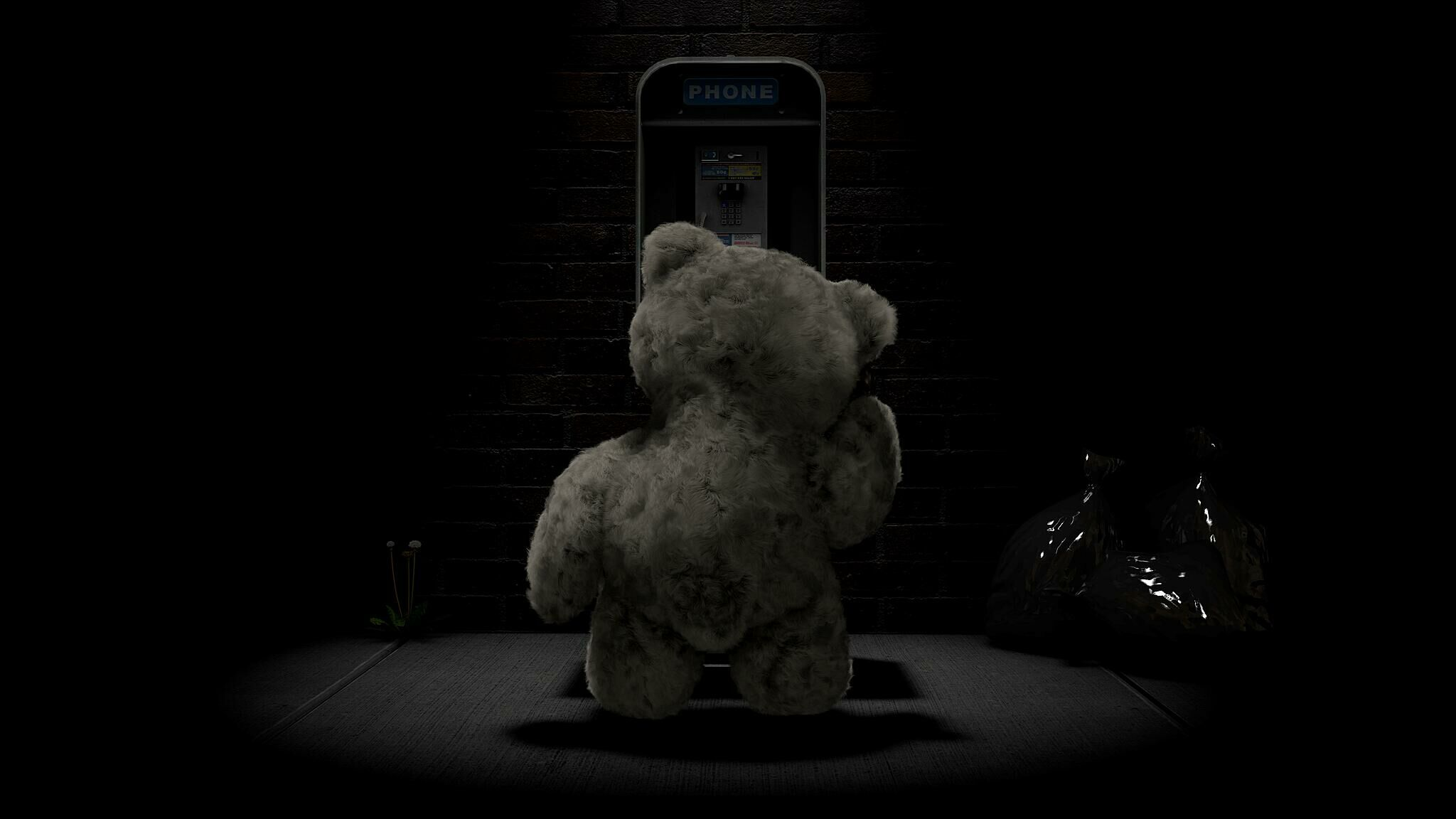 Film still of a bear.