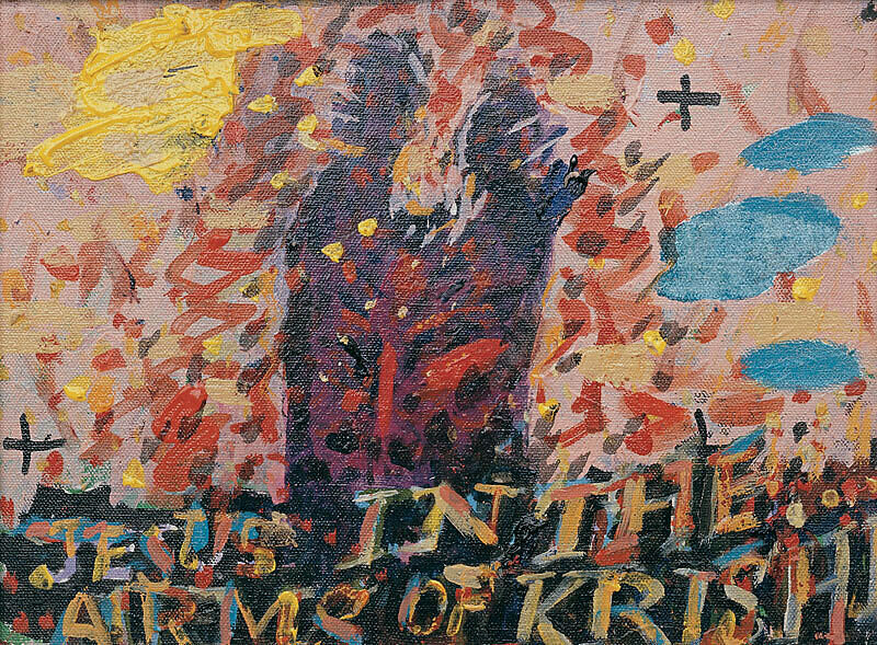"Abstract painting with the words ""Jesus in the Arms of Krishna."""