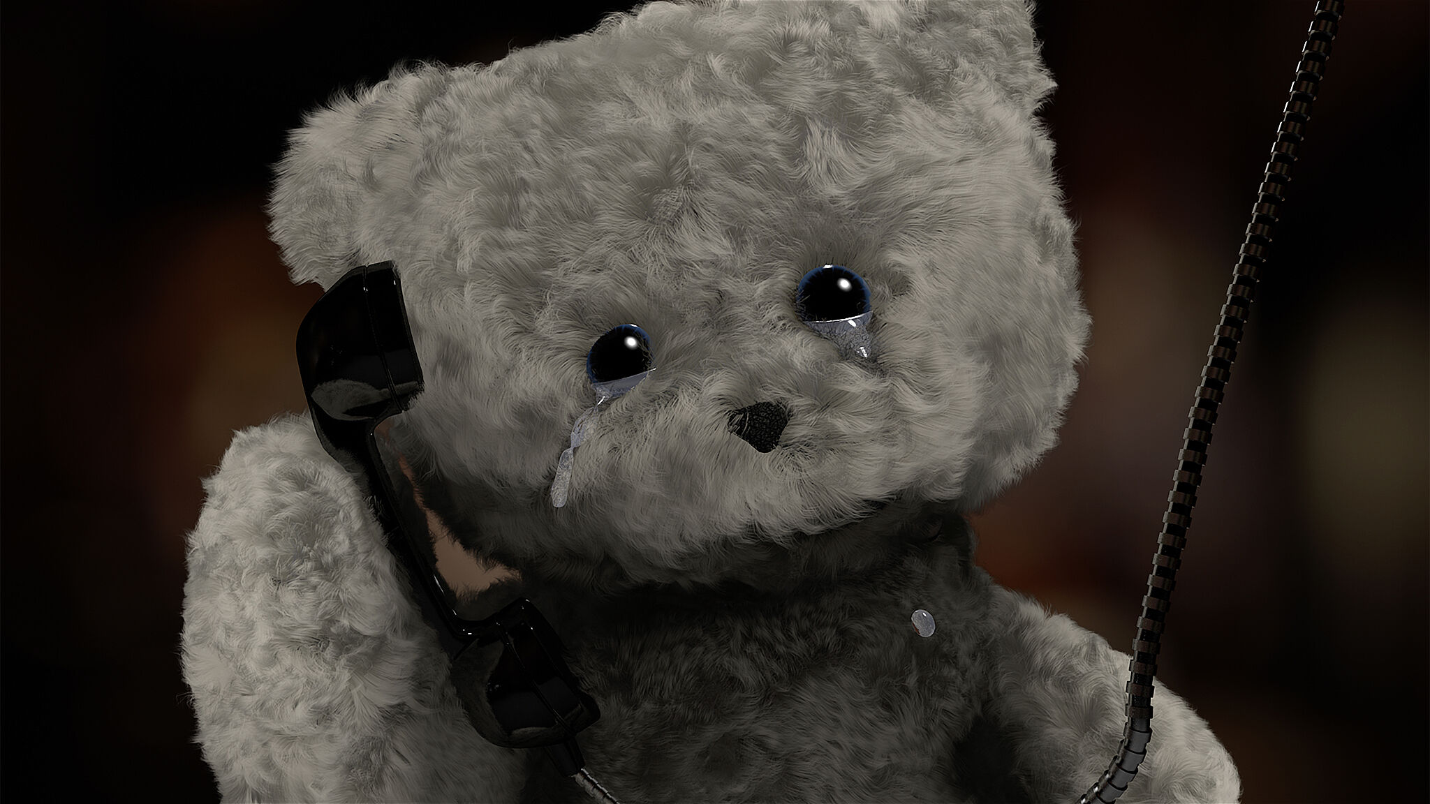 Film still of a bear crying.